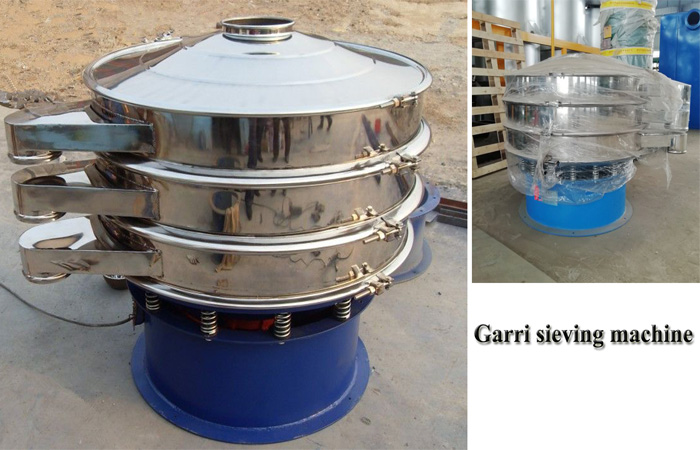Garri sieving machine working process